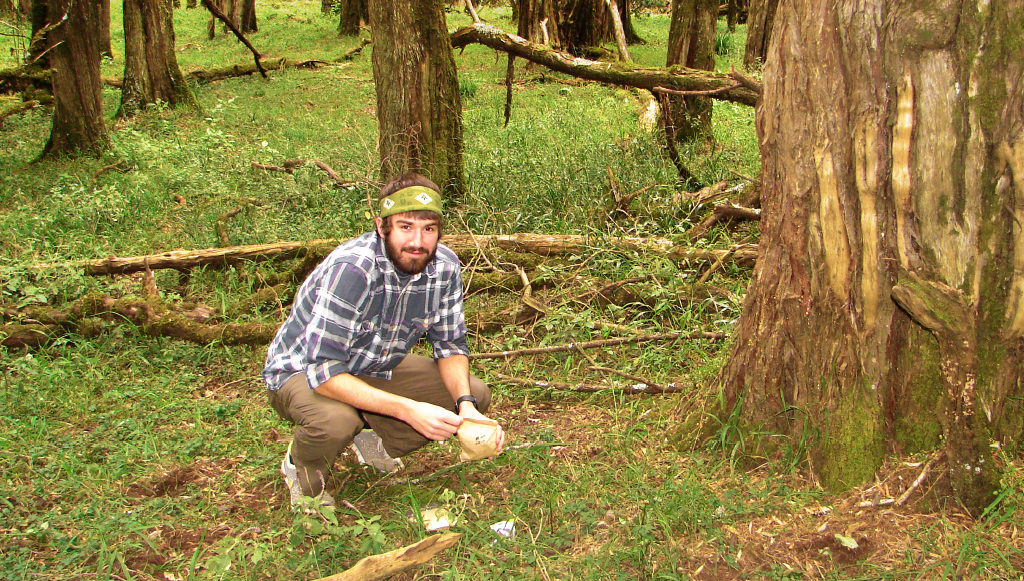 collecting field samples in Kenya